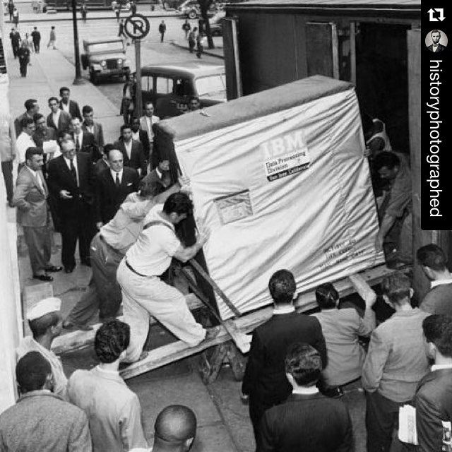 5 MB harddrive being shipped by IBM, 1956. #photography #data #technology #IBM