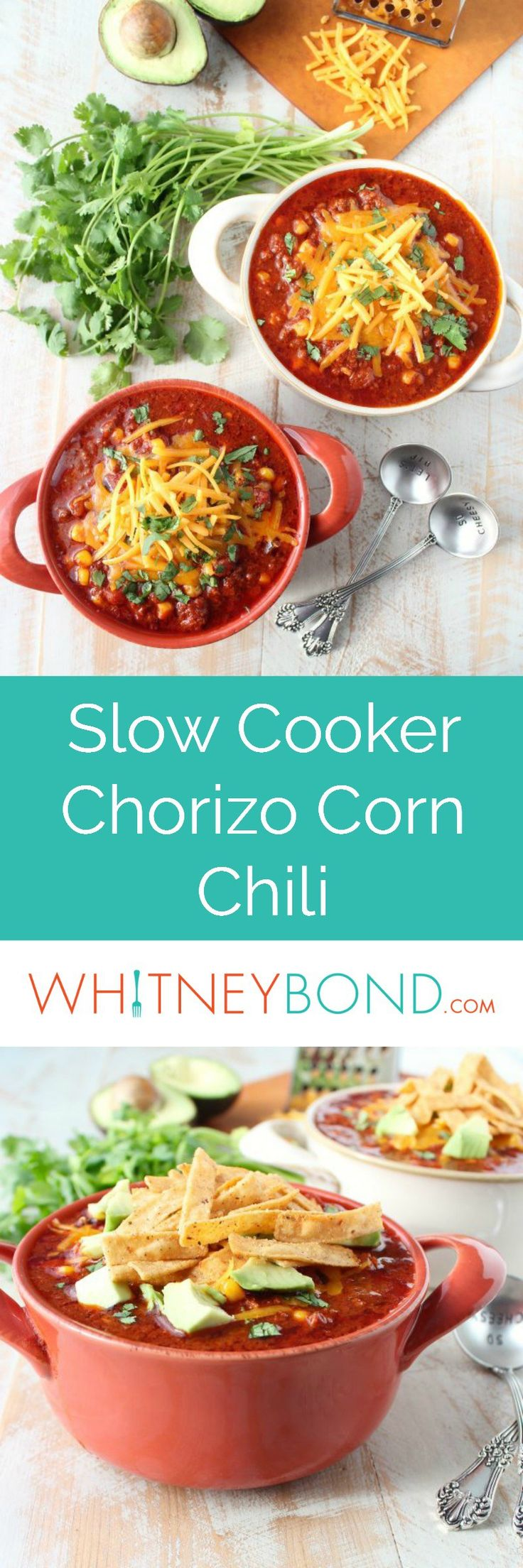 Chorizo sausage & corn chili is a spicy, flavorful slow cooker recipe, easily whipped up with only 15 minutes of prep! Served in @worldmarket crocks. #WorldMarketTribe