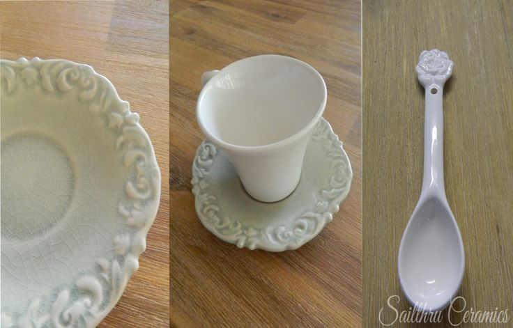 Teacup and saucer detail with rose teaspoon.