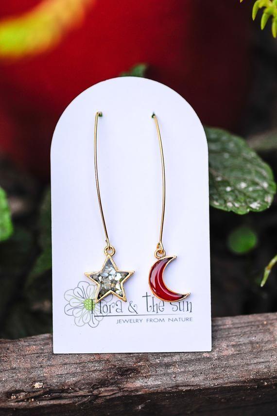 Moon and Star Earrings Abalone shell Leaf Wire Earrings Crescent moon Mismatch earrings Red moon Asymmetrical earrings