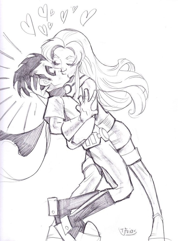 Starfire and Robin Kiss by guinnessyde on @DeviantArt