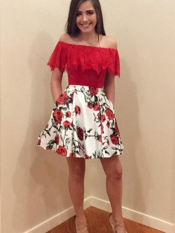 81cb47c8a293f Red Homecoming Dresses Rose Floral Print Aline Lace Short Prom Dress Party  Dress JK767