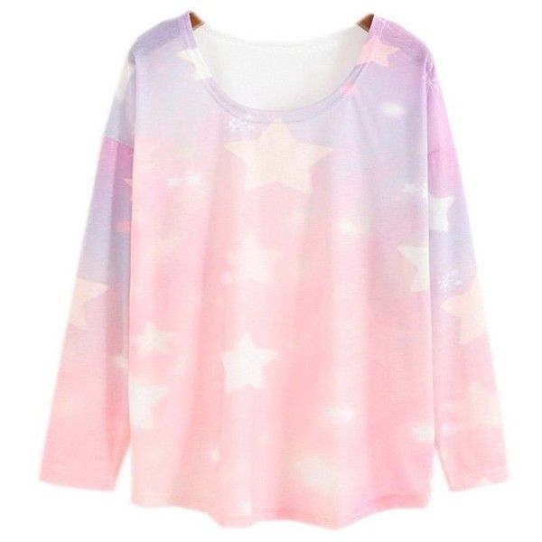 Women's Loose Batwing Sleeve Pastel Tops Tees Pink Star Print (Size M)... (49 BRL) ❤ liked on Polyvore featuring tops, bat sleeve tops, loose fitting tops, loose fit tops, pastel tops and pink top