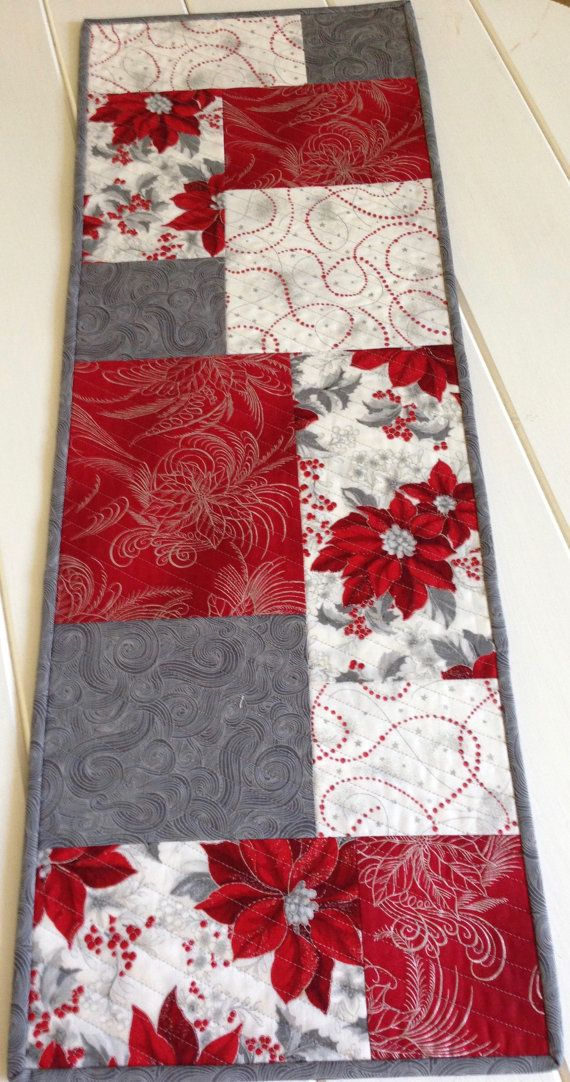 Quilted Christmas Table Runner in Red, White and Silver,Holiday Table Cloth for…