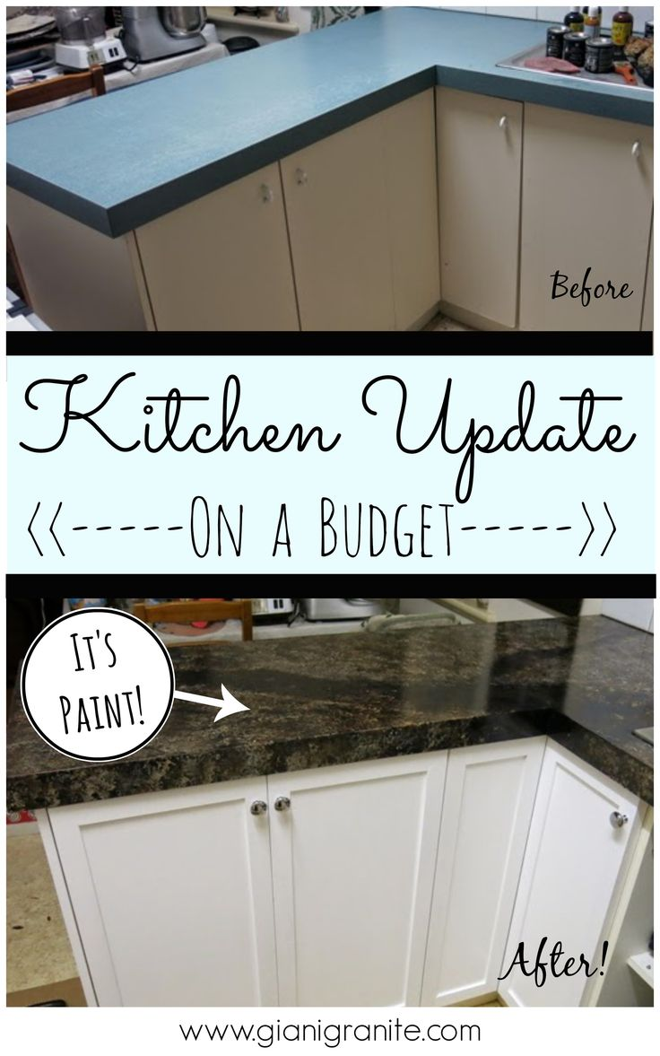 Kitchen Update on a budget. Countertop paint that looks like granite! #DIY www.gianigranite.com