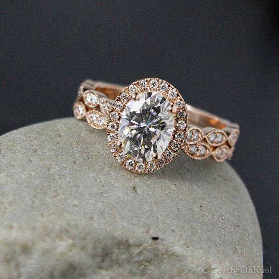 Rose Gold Oval Moissanite Engagement Ring – Diamond Milgrain Leaf Band – Boho Weddings