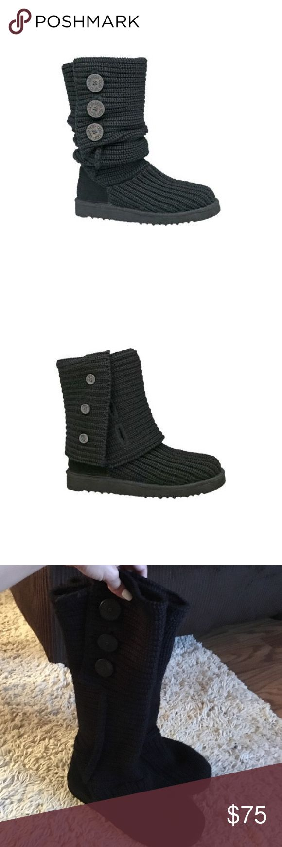 Black Classic Cardy Ugg Boots Gently worn black knit Uggs. Some tilling on the wool. Only worn one season. Size 6 but run a little big due to the knit stretching. UGG Shoes Winter & Rain Boots