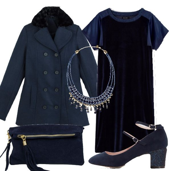 Il velluto è di gran moda questo inverno. Qui vi propongo un vestitino blu, un cappottino doppiopetto con dettaglio che riprende il velluto del vestito e scarpe basse con tacco con brillantini che riprende il collo del vestito. A completare il tutto una pochette in tinta e una collana per illuminare. Outfit perfetto per le curvy.