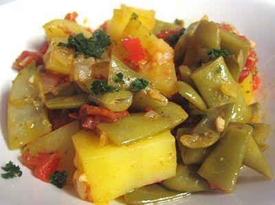 Receta de Judías verdes estofadas con tomate y pimiento - Deliciosas recetas de cocina con foto: arroz, legumbres, carnes, postres...