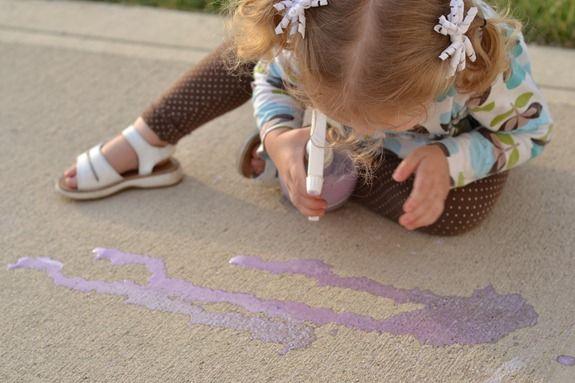 Chalk spray painting fun