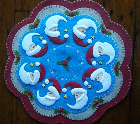 Santa Faces  Candle Mat  Completed