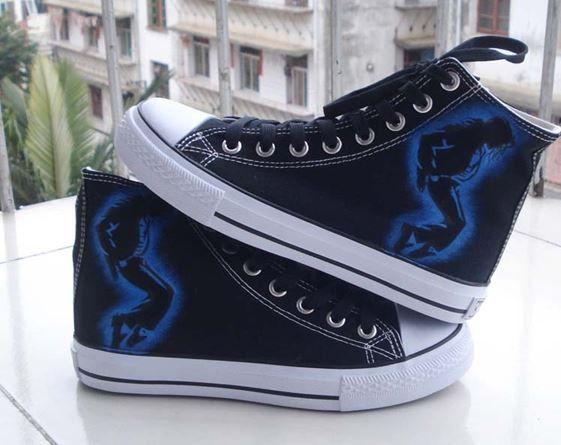 Michael Jackson shoes canvas shoes hand paint  by Kingmaxpaints, $59.90