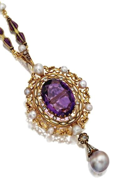 RENAISSANCE-REVIVAL GOLD, ENAMEL AND PEARL CHAIN AND AMETHYST PENDANT, THE CHAIN BY CARLO GIULIANO, CIRCA 1880.