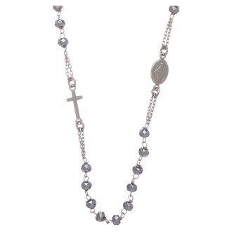 Rosario girocollo argento 925 colore silver sfera ematite rodio 5 mm | vendita online su HOLYART