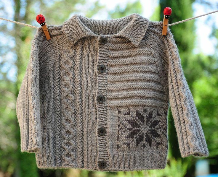 layette gilet gris en laine 3 mois neuf tricoté main : Mode Bébé par com3pom
