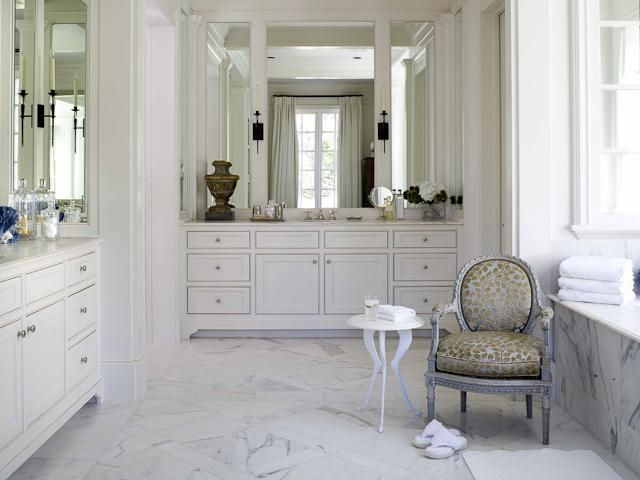 Image Gallery Website  Bathroom Modern Bathroom Calm White Bathroom Galley Decoration Using White Marble Bathroom Floor And White Bathroom Vanity And Vintage Gold Vanity
