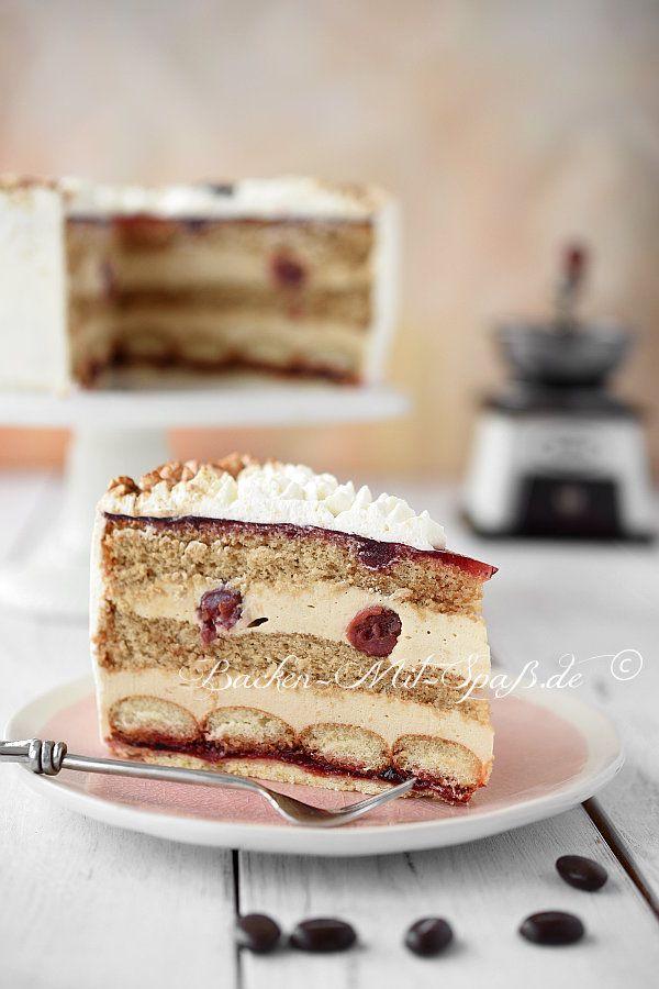 Kaffee Kirsch Torte Recipe Food Kuchen Blechkuchen Kuchen