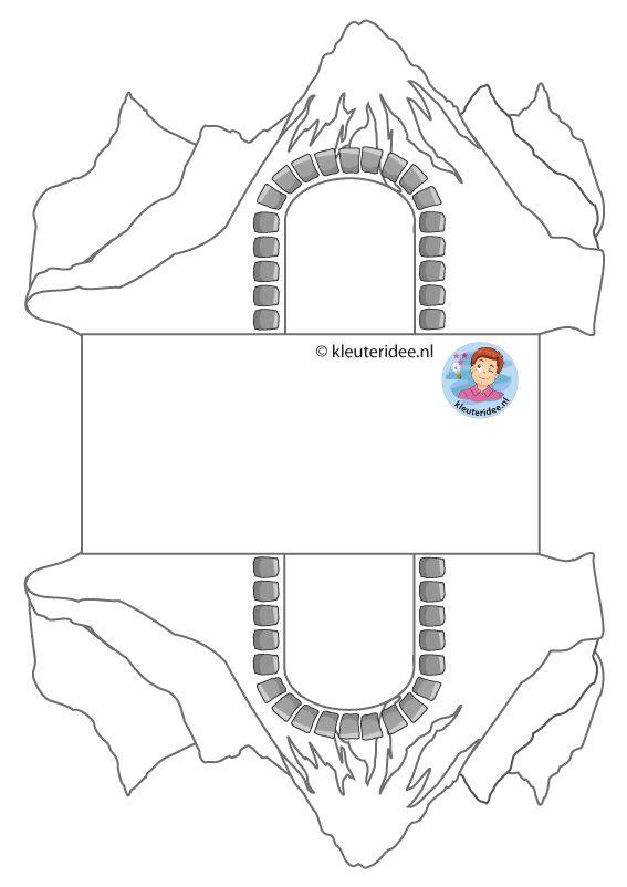 Treintunnel knutselen met kleuters, kindergarten train tunnel craft, kleuteridee, free printable