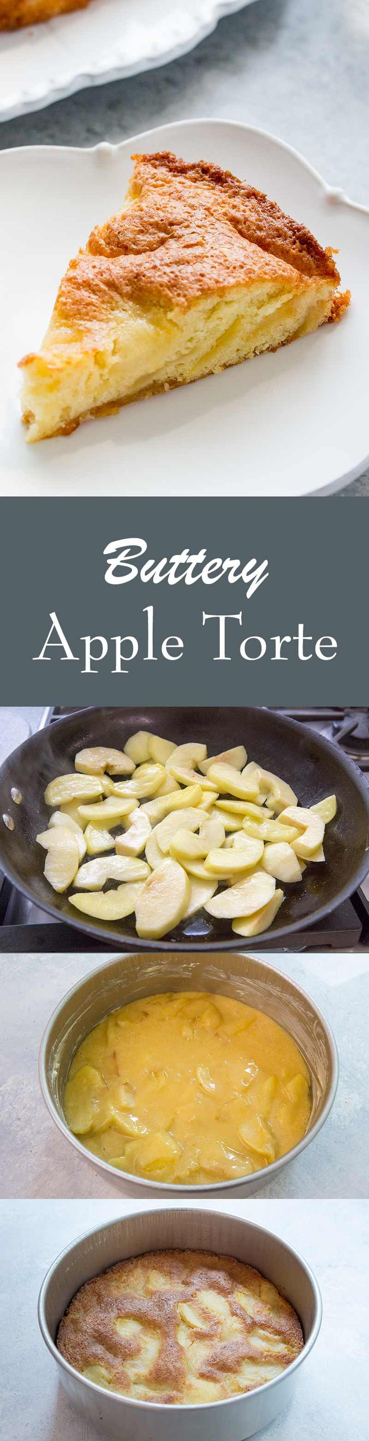 Buttery Italian Apple Torte! This light single layer cake is filled with apple slices that have been cooked in butter.