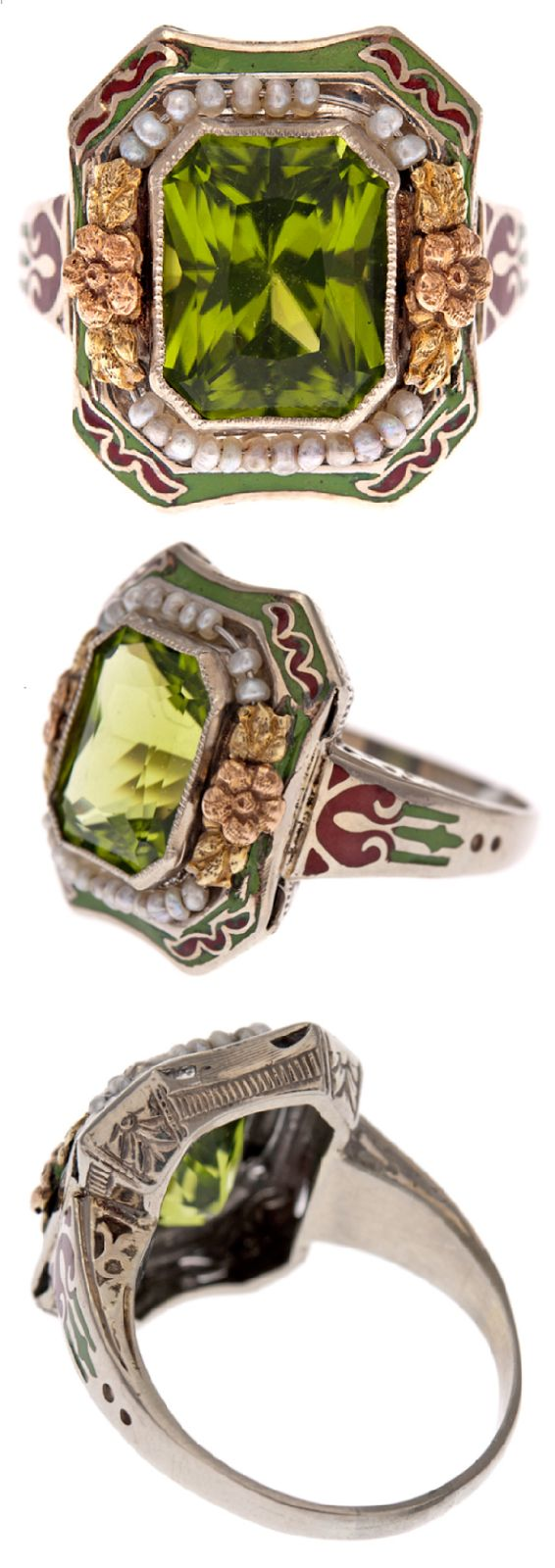 Antique peridot, enamel, and pearl ring, circa 1900. This peridot ring with enamel and natural pearls was made in 1900. This peridot ring with enamel and natural pearls was made in 1900. This ring centers an intense, dazzling peridot surrounded by a crown of rose gold flowers and natural seed pearls. The border is surrounded by an additional layer of rusty brown and grassy green enamel. Via Diamonds in the Library.