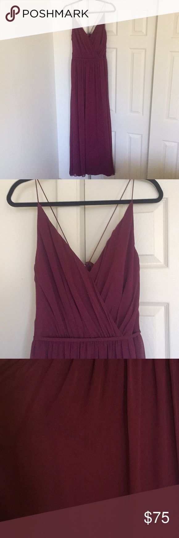 """Hayley Paige Occasions// burgundy bridesmaid dress Beautiful floor length chiffon bridesmaids dress from Hayley Paige.  Worn once.  Beautiful burgundy color.  Does have small stain just below the belted waist (shown in last picture) but beyond that in great condition. I'm 5'10"""" and wore flats for the wedding i was in and it just touched the floor.  Listed as size 16, fits more like an 8-10 Hayley Paige Occasion Dresses Wedding"""