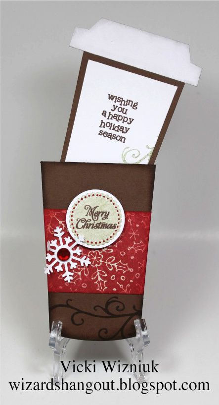 10/8/2012; Vicki Wizniuk at 'Wizard's Hangout' blog Christmas Coffee Cup Pocket Card with link for the pattern