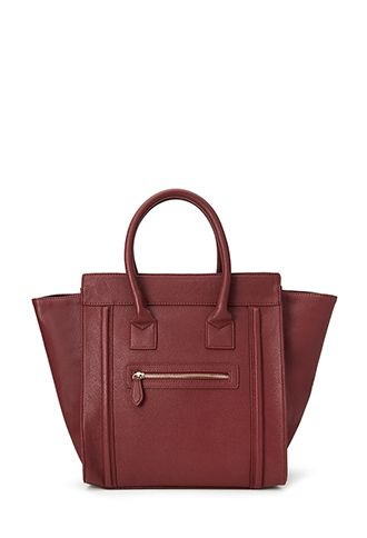 Zippered Faux Leather Satchel | FOREVER21 - 1000137541 Celine ...