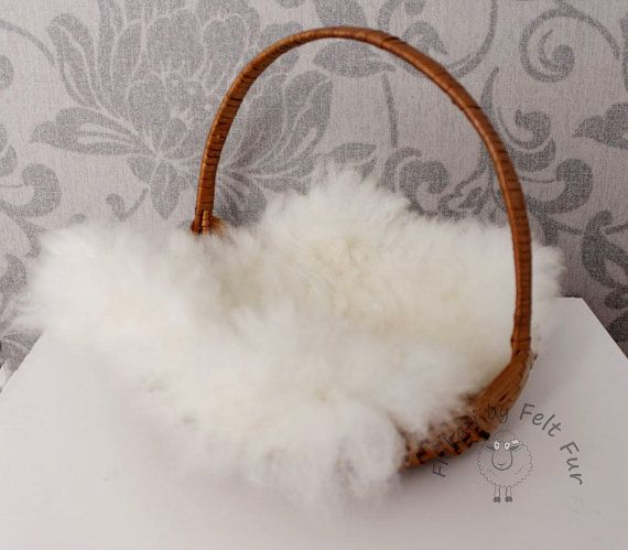 Alpaca white wool mini felt fur rug mat blanket fleece real wool felted wool newborn newborn fluff hand hand made by feltfur rts