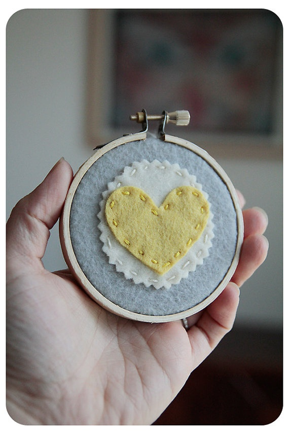 Embroidery Hoop Art. Yellow Felt Heart on Grey. Wall Hanging by Catshy Crafts
