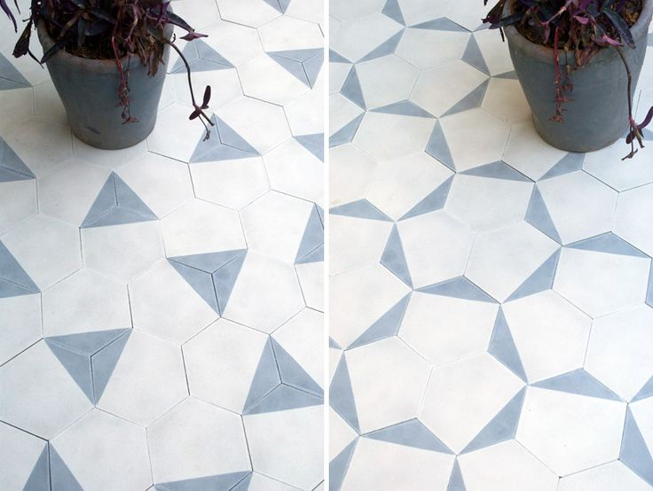 Contemporary moroccan cement tiles. Three tile designs can be arranged in multiple ways, offering several different macro-patterns for each.
