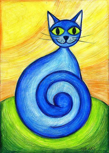 blue cat blue cats cat and doodle paint
