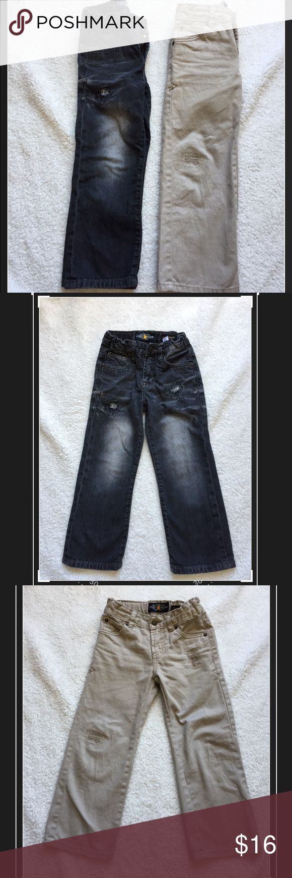 "Lucky Brand Boys Jeans Distressed black jeans and distressed khaki color jeans, both have adjustable waist bands. Some wear in the knees, but no stains or rips, still ton of life in these. Waist to hem 24.5"", both the same size. Lucky Brand Bottoms Jeans"