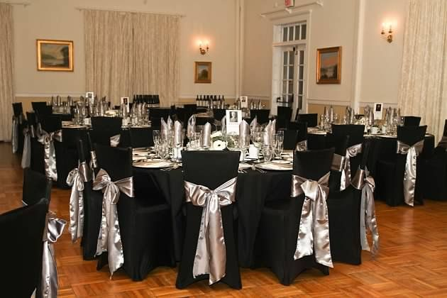 chair covers new year height after hip replacement a black spandex cover with satin pewter sash what great look for years party all about weddings pinterest