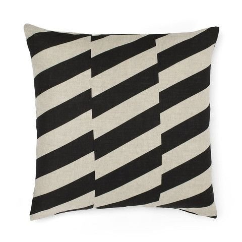 ON SALE | Cushion Staggered Black | ONLY $29.95  Order online at www.littleredchick.com.au or come into the store and visit us! #littleredchick #monochrome #stripes #cushions
