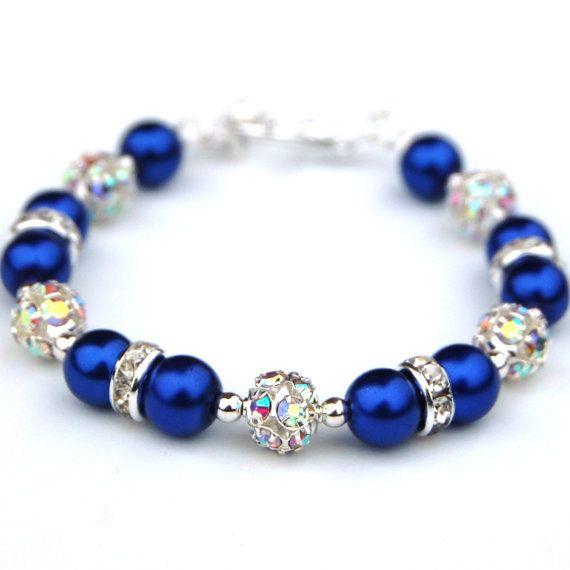 Bridesmaid Jewelry, Royal Blue Bling Bracelet, Bridesmaid Gifts, Pearl Rhinestone Jewelry, Something Blue