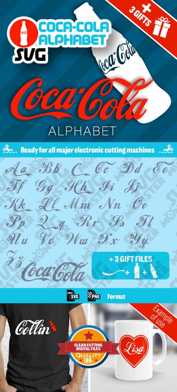 Svg COCA-COLA ALPHABET svg • Cut Files for Electronic Vinyl Cutter • png • Cricut Design Space, Silhouette letter word clipart • 026 de la boutique SVGmonster sur Etsy