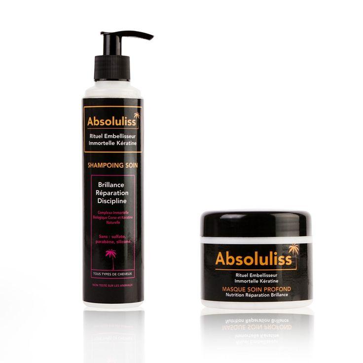 Réparez vos cheveux secs et abimés et/ou entretenez votre lissage brésilien, coréen, français. Sans sulfate, silicone, parabène, à la kératine & immortelle bio