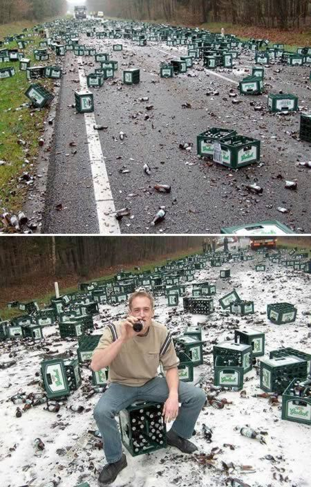 "A Highway  in The Netherlands was closed on May 11, 2005 after an accident that spilled 2,184 cases of Grolsch beer. A woman driving a car swerved out of her lane and into the path of a Grolsch beer truck, causing the truck to roll over and the car to flip. One officer described the scene as ""a sea of beer"". The woman's life was most likely saved by her seatbelt and airbag. The beer was a goner."