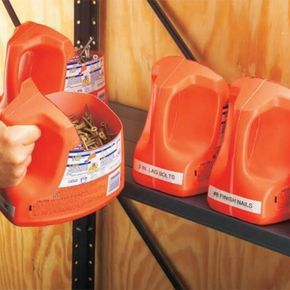 using recycled laundry soap containers to store nails and screws!  awesome!