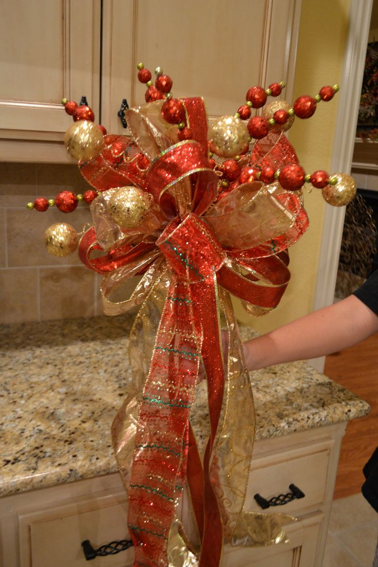 Red And Gold Ribbon Tree Topper