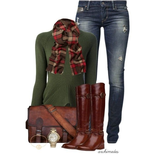 So simple and cozy! A knit sweater in a neutral color (like gray or olive), plaid scarf, jeans and boots.