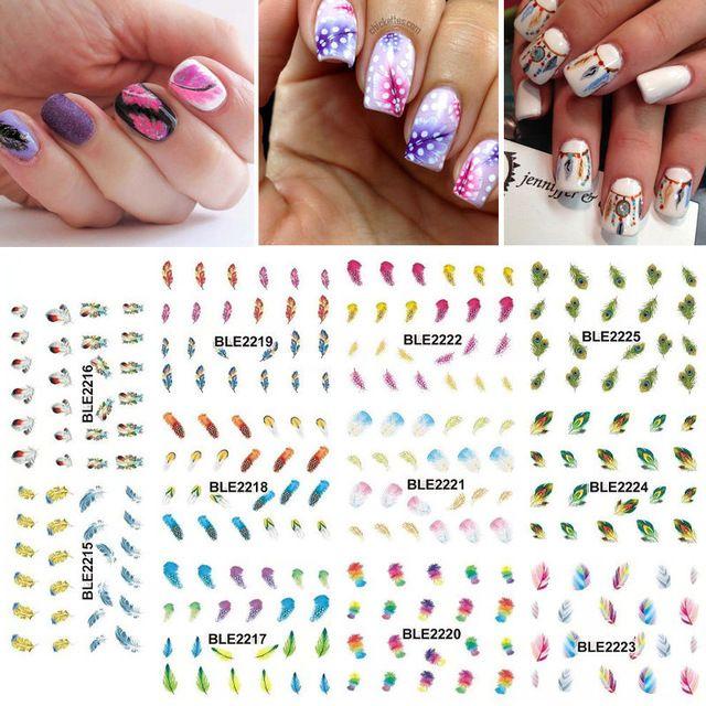 1 partij = 11 vellen grote regenboog kleur veer water transfer nail art sticker watermerk manicure pedicure BLE2215-2225