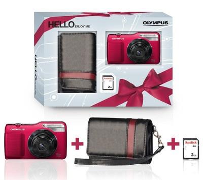 Die VG-170 von Olympus ist eine digitale Kompaktkamera für die ganze Familie. Der bedienerfreundliche Fotoapparat verfügt über einen 14,5 Megapixel starken CCD-Sensor, einen 5-fachen optischen Zoom und ein 26-mm-Weitwinkelobjektiv. Hier im Geschenkset mit Tasche und 2 GB SD-Karte.
