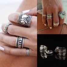 4 unids/set 2016 venta al por mayor anillos de Bohemia Vintage única talla elefante de plata tibetano anillo plateado Set para mujer joyería(China (Mainland))