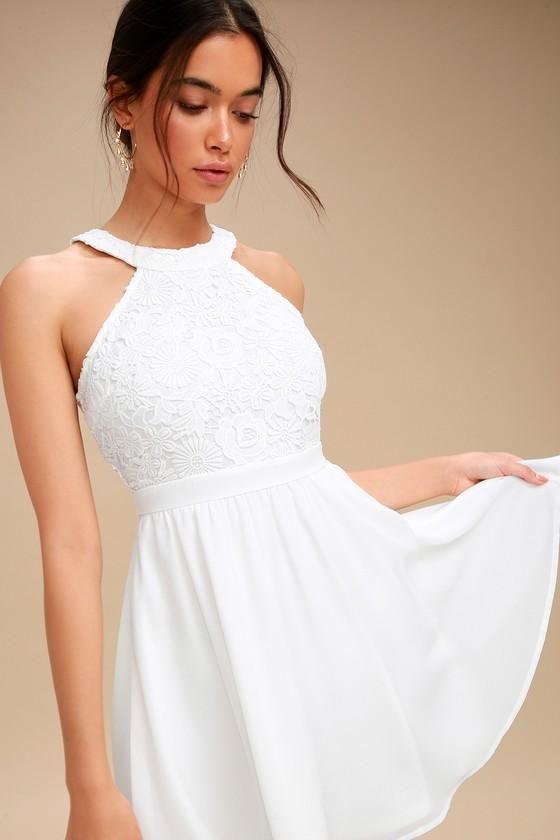 79e63409c11f #AdoreWe #Lulus - #Lulus Lover's Game White Lace Skater Dress - Lulus -  AdoreWe.com