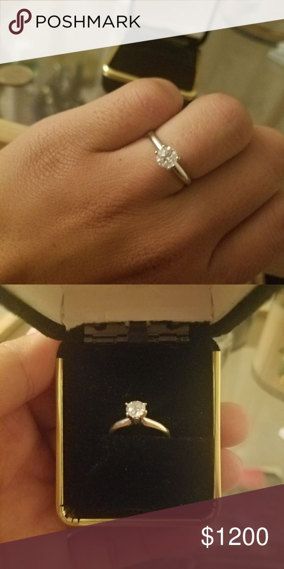 Jewelry 14kt white gold solitaire ring size 7. Comes with forever warranty at any Kay Jewler. Can also use this ring to upgrade into bigger diamond in the future! Perfect holiday engagement ring! Jewelry Rings
