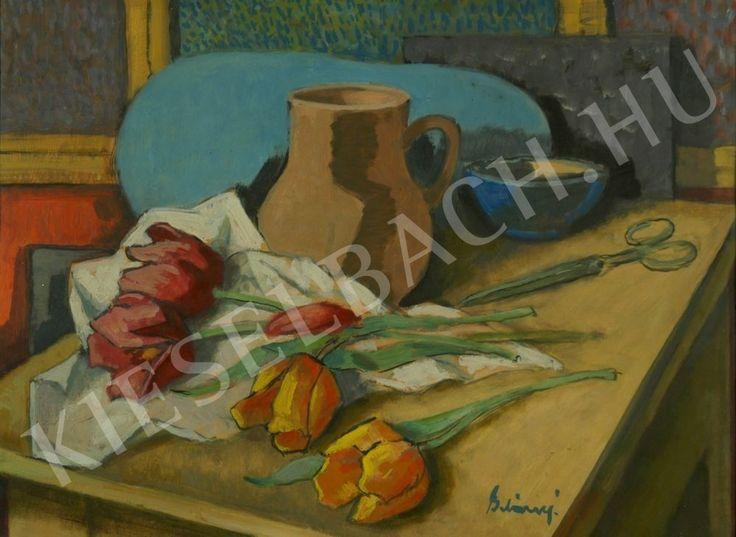 Still-Life with Tulips - Viktor Belányi