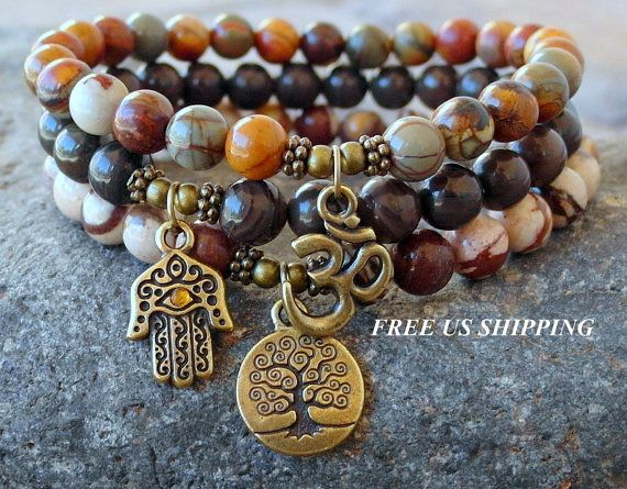 Jasper stack Yoga set of 3 mala bracelets Yoga by LifeForceEnergy, $44.00