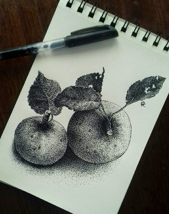 Apples_puantillism_graphic_olga_kostenko