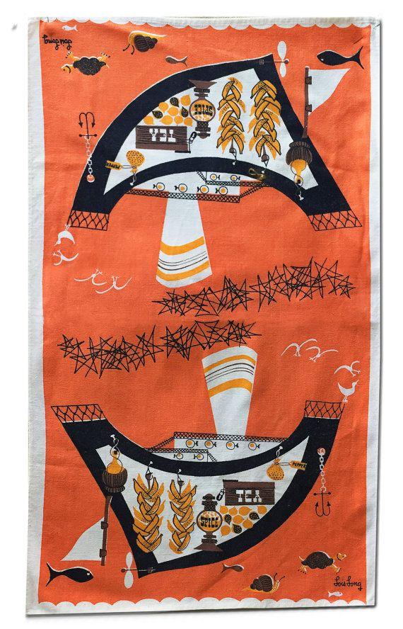 Vintage Tea Towel Mid-Century Vintage by supplysideeconomics